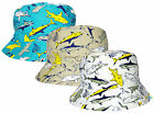 Kids Sharks Design Bucket Hat Boys Girls 100% Cotton Summer Sun Bush Cap