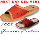 Lady Woman Genuine Leather Slippers Mules Flip Flop Slip On Size 34 5 6 7 8 9 10