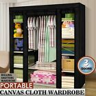 Triple Multiple Portable Canvas Wardrobe Hanging Rail Home Funiture Storage New