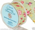 Full Roll Wired Edge Polka Dot Floral Ribbon x 10m Olive Craft Vintage Wedding