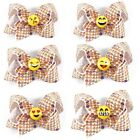 "4"" Grosgrain Ribbon Emoji Hair Bows With Alligator Hair Clip For Baby Girls New"