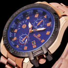 Luxury Mens Black Dial Gold Stainless Steel Date Quartz Analog Sport Wrist Watch image