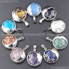 Natural Gemstones Moon and Stars Reiki Chakra Healing Beads Pendant Necklaces