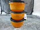Tupperware Halloween Ideal Little Bowls Lot of 3 Orange and Black 8 oz   NEW