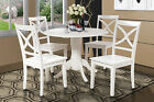 "42"" ROUND DINETTE KITCHEN DINING ROOM TABLE SET W/. 9"" DROP LEAF IN WHITE FINISH"