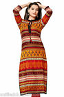 Indian Ethnic Designer Vibrant Printed Kurti for Women With Side Pocket 0336