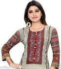 UK STOCK - Women Indian Pakistani Printed Cotton Kurti Tunic Kurta Top Shirt 374