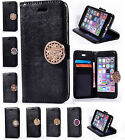 Black PU Leather Diamond Coin Moneda Card Stand Wallet Case Cover For Cellphones
