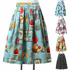 Retro Women's Vintage Style Cotton Skirt Clubwear Party Dress Plus Size XS~XXXL