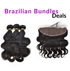 Lace Frontal Closure+Brazilian Bundles+Wig Caps Natural Black Virgin Human Hair