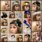 SEQUIN FEATHER HEADBANDS 20s 1920s FANCY DRESS CHARLESTON BROW BAND FLAPPER NEW