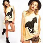 Fashion Women Horse Print Sleeveless Casual Shirt Blouse T-Shirt Vest Tank Top