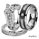 HIS HERS 3 PIECE CZ STAINLESS STEEL & TITANIUM WEDDING ENGAGEMENT RING BAND SET