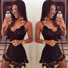 S-3XL Women Sexy Bandage Bodycon Lace Evening Party Cocktail Short Mini Dress