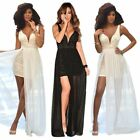 Sexy Women Long Lace Chiffon Wedding Cocktail Prom Gown Evening Party Maxi Dress