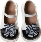 DISCONTINUED Girl Black White Paten Squeaky Shoes with Clip on Flower Sz 1 - 7