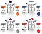 FC521 MLB THEMED WHITE AND CHROME BAR TABLE SET FOR MAN CAVE, PUB OR GAME ROOM