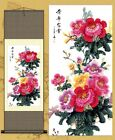 Chinese Brush Ink Silk Scroll Painting Peony Butterfly Home Decoration Various