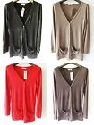 Women's Long Sleeves V Neck Button Drop Pocket Boyfriend Cardigan