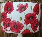 Poppy Lamp Shade Lampshade shabby chic red white floral flowers FREE GIFT