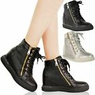 WOMENS LADIES TRAINERS HIDDEN WEDGE MID HEEL PLATFORM LACE UP ANKLE BOOTS SIZE