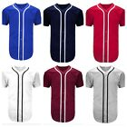 Men's Baseball Jersey Raglan PlainT-Shirt Team Sport Button Fashion Tee Casual T