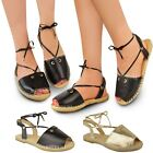 New Ladies Womens Flat Espadrilles Sandals Lace Up Ankle Strap Summer Shoes Size