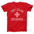Amity Island Lifeguard  Funny Jaws Shark Week Humor Red Basic Men's T-Shirt