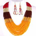 TIERED MULTISTRAND DRAPED SEED BEAD GOLD ACCENT STATEMENT NECKLACE & EARRING SET