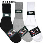 1 Dozen 4-12 Pairs Men's Thick Sports Cotton Crew Socks Size 9-11 White Black