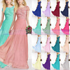 New Short Sleeve Floor Length Wedding Party Evening Bridesmaid Dress Size 6-26