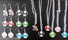 Mario Toad Mushroom Earrings Necklace Set Retro Gaming Silver Plated
