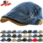 Solid Cotton Gatsby Cap Mens Denim Hat Golf Driving Summer Sun Cabbie Newsboy