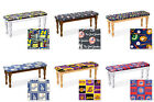 DARK OAK, WHITE OR NATURAL FINISH WOOD DINING BENCH W SPORTS THEMED SEAT CUSHION