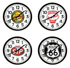 "FCR10 GAS OIL THEMED LOGO 11.38"" ROUND WALL CLOCK BLACK FINISH PLASTIC FRAME"