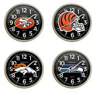 FCR8 NEW NFL TEAM THEME SILVER FINISH PLASTIC ROUND WALL HANGING CLOCK $64.88 USD on eBay