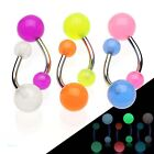 Belly bar with glow in the dark balls buy 1 or full set, you choose belly rings