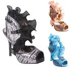 New Women's Lace Ruffle Chiffon Sequin Peep Toe Sandal Black Blue Beige 5.5 to 9