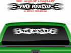 #161 FIRE RESCUE Tribal Flame Windshield Decal Back Window Vinyl Sticker Design