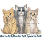 "Ladies T Shirt "" See Hear Speak No Evil Cats "" All Size"