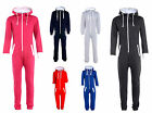 KIDS BOYS GIRLS PLAIN HOODED ONESIE ALL IN ONE JUMPSUIT PLAYSUIT SIZE 9-14 YEARS