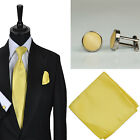 New Mens Wedding Plain Sunbeam Solid Colour Tie Hankie Cufflink Set