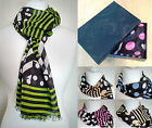 Boxed Ladies Long Length Stripe Spotty Scarf New Gift Women's Green Pink Blue