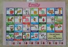 E-J Girls Names Drywipe Alphabet Placemat Personalised Phonics Letter Formation
