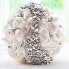 Brides Deluxe Silk Rose Flower Crystal Pearl Posy Wedding  Bouquet Ivory 2 Types