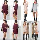 Women Casual Long Sleeve Pullover Tops Loose Blouse T-shirt Mini Short Dress
