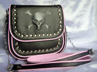 Jordash Darkstar Skull Embossed Shoulder Bag With Studs Black & Pink