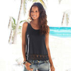 Women O-Neck Lace Sleeveless Splice Loose Hollow Out Stretchy Vest Top Tank