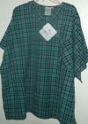 NWT 2x 1 pocket v neck scrubs top by S.C.R.U.B.S OCEAN MIST PLAID PRINT