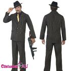 Mens 20s 1920s Gold Pinstripe Gangster Costume 1920's Male Razzle Fancy Suit